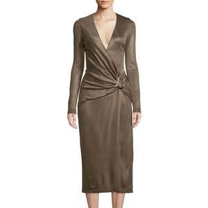 Cushnie Mink Long Sleeve Wrap Effect Midi Dress 6